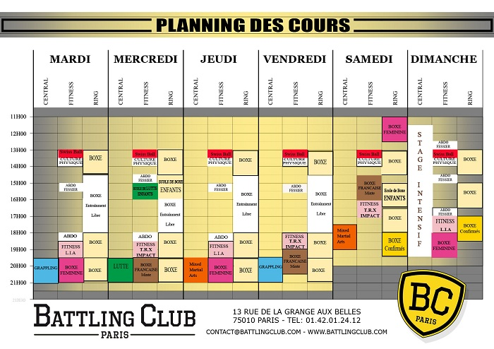 PLANNING COURS BATTLING CLUB